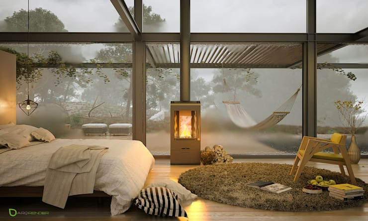 A bedroom in winter times: Dormitorios de estilo  por ArqRender