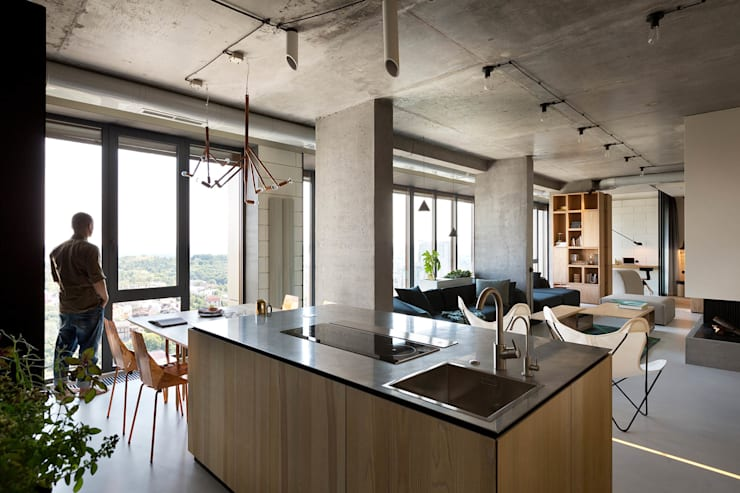 NPL. Penthouse:  Kitchen by Olga Akulova DESIGN