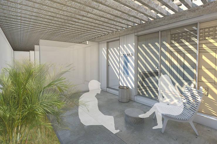 Patio privado de las habitaciones:  de estilo  por PUNCH TAD