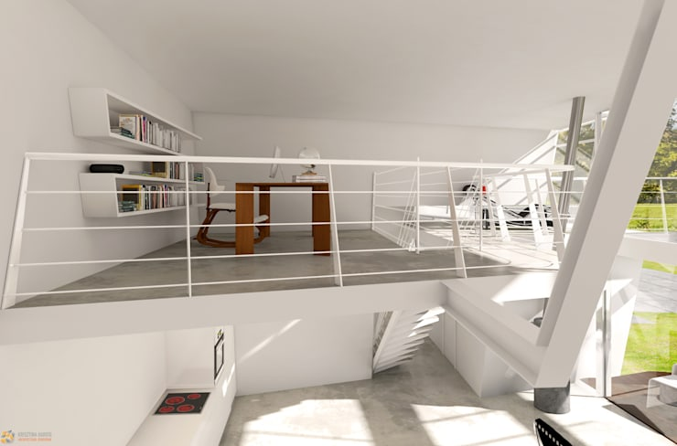 minimalistische Arbeitszimmer von KRISZTINA HAROSI - ARCHITECTURAL RENDERING
