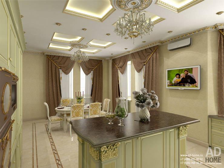 Дизайн интерьера столовой в  доме в классическом стиле , 370 кв. м в, Московская область : Столовые комнаты в . Автор – Ad-home
