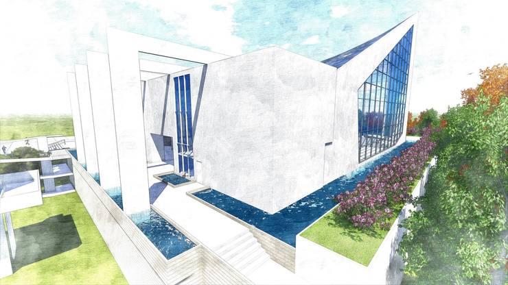Diseño Arquitectónico de un conjunto Cristiano-Evangélico Penteco:  de estilo  por Arq. Miguel Garrido