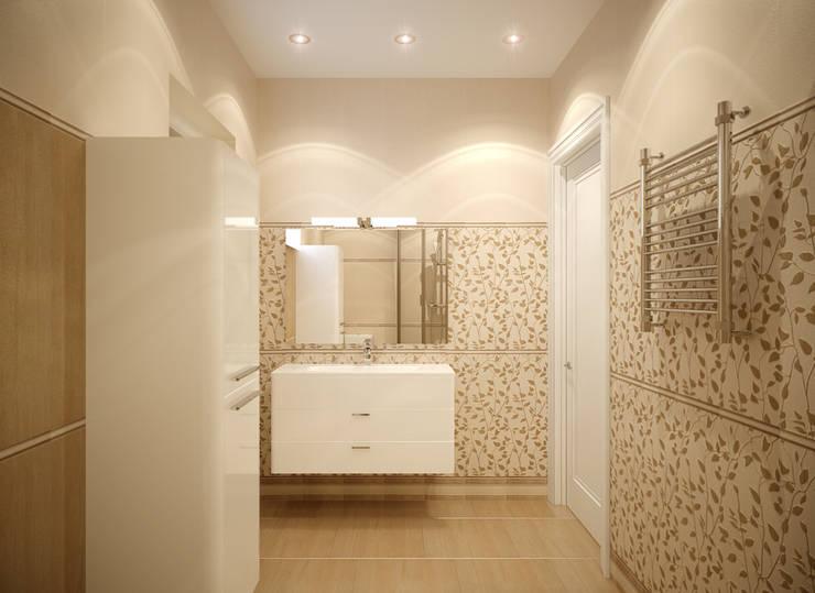 """Дизайн санузла 2 этажа в коттеджном поселке """"Бавария"""": Ванные комнаты в . Автор – Студия интерьерного дизайна happy.design, Классический"""