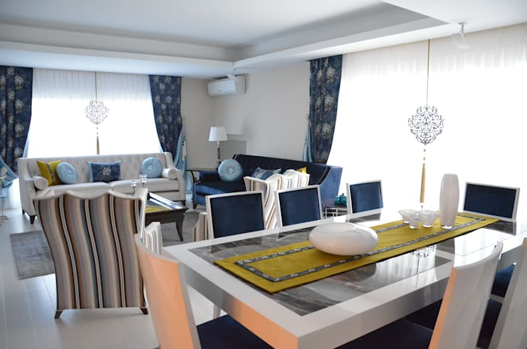 Levent Home Collection – Girne, Karşıyaka, Salon Perde Tasarımı ve Uygulaması:  tarz Ev İçi