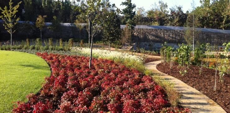 Jardim de habitação particular em Guimarães: Jardins  por Neoturf