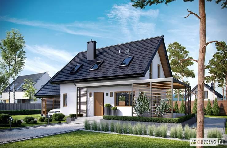Projekt domu Lea II (z wiatą) : styl , w kategorii Domy zaprojektowany przez Pracownia Projektowa ARCHIPELAG
