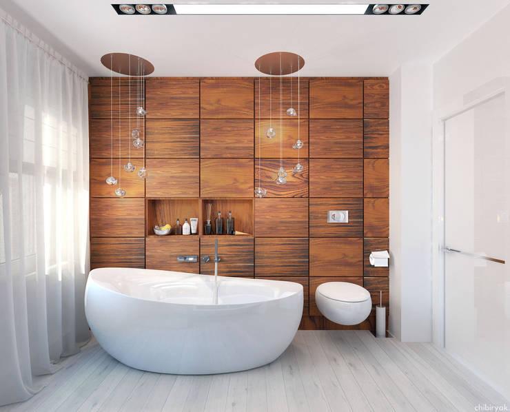 Тепло натурального дерева: Ванные комнаты в . Автор – 1+1 studio