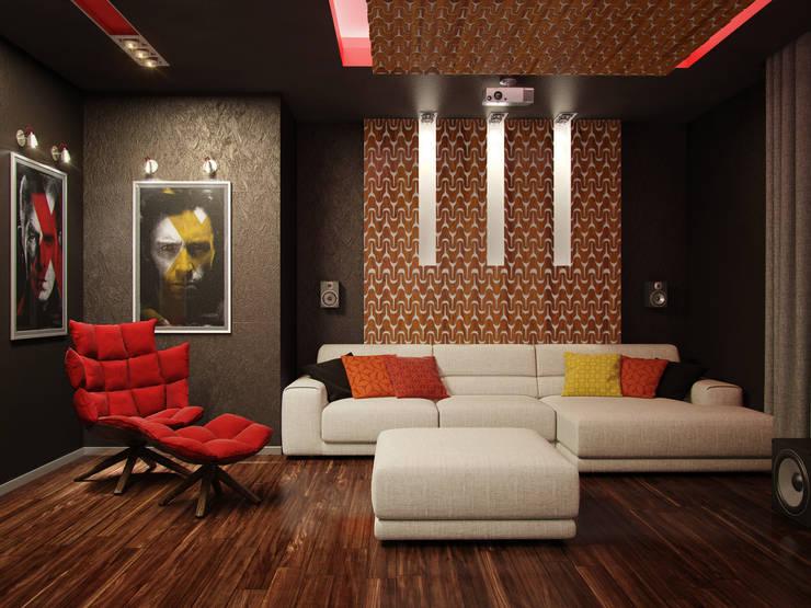 энергия черного: Гостиная в . Автор – D3 Studio // Студия интерьера