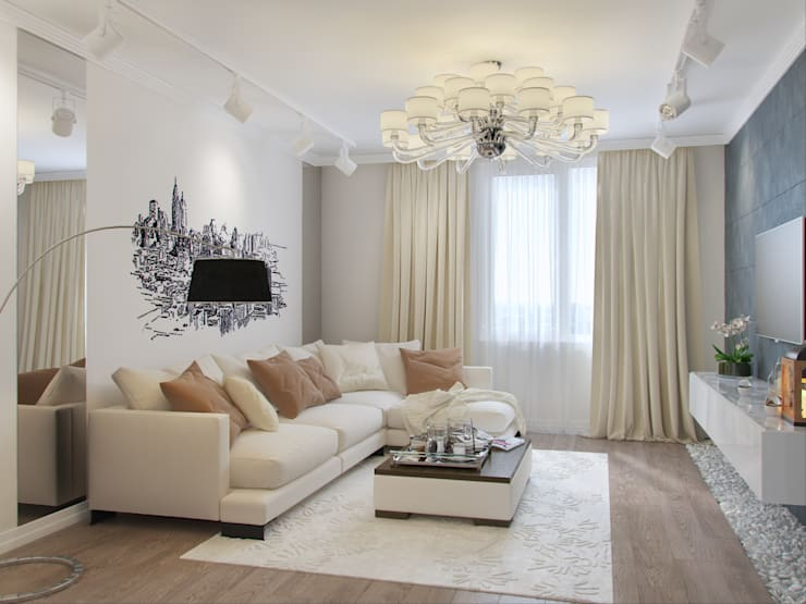 Квартира в силе Ар-деко, ЖК «Гранд Фамилия», 97 кв.м.: Гостиная в . Автор – Студия дизайна интерьера Маши Марченко
