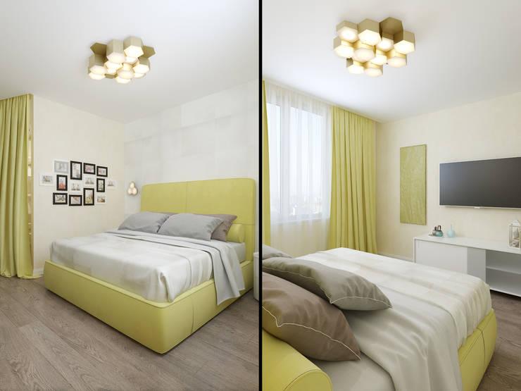Квартира в силе Ар-деко, ЖК «Гранд Фамилия», 97 кв.м.: Спальни в . Автор – Студия дизайна интерьера Маши Марченко