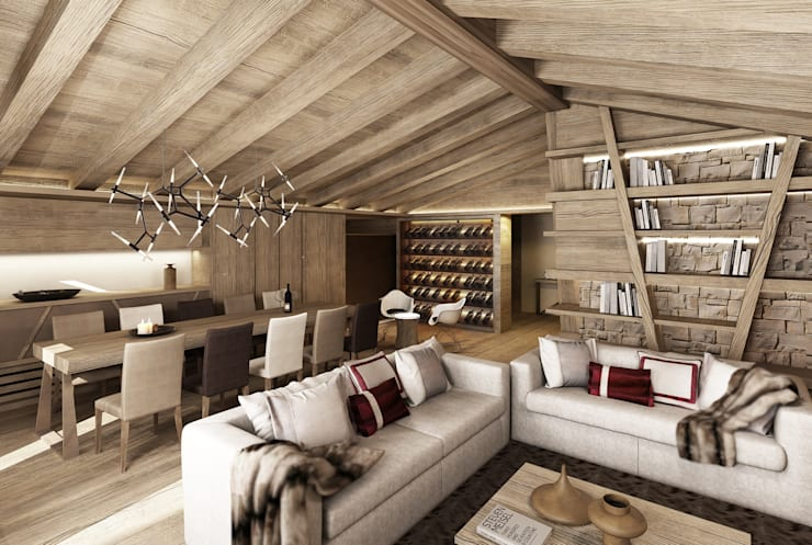 Livings de estilo rural por Avogadri simone archi3d