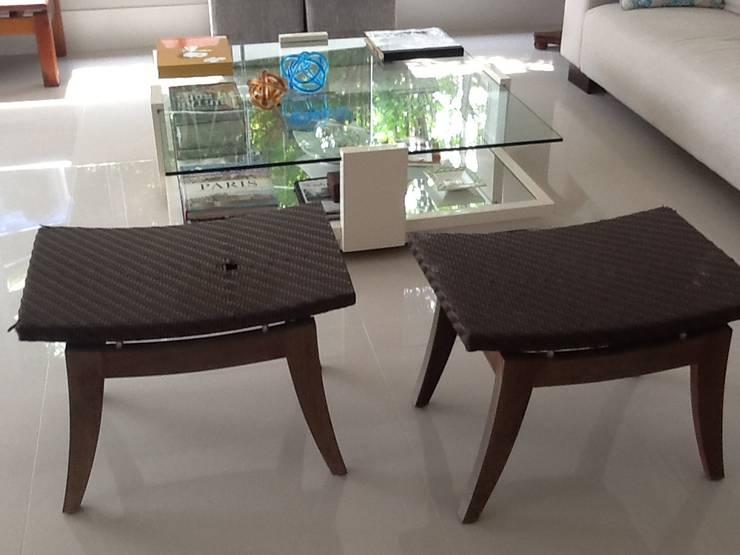 Residência em Manaus – AM: Sala de estar  por ANALU ANDRADE - ARQUITETURA E DESIGN,