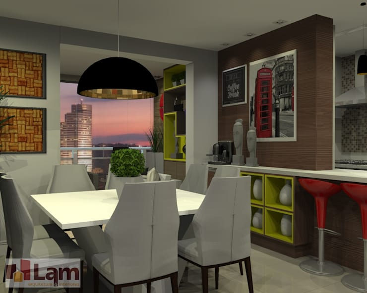 Sala de Jantar - Projeto: Salas de jantar  por LAM Arquitetura   Interiores