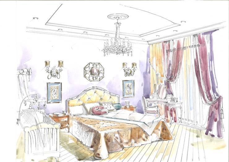 Квартира в ЖК «Сколково».: Спальни в . Автор – Архитектурно-дизайнерская компания Сергея Саргина