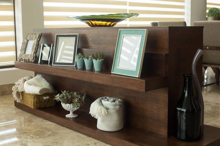 Diseño de mueble doble vista.: Salas de estilo  por Dovela Interiorismo