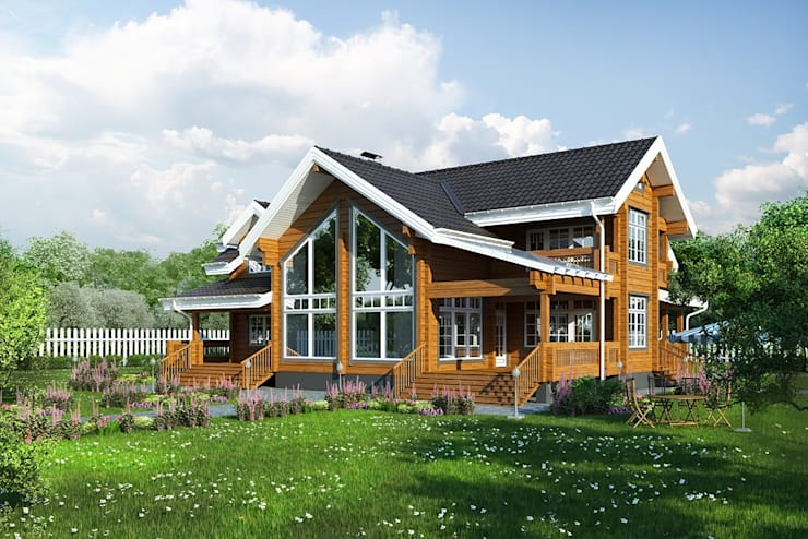 Wooden houses.: Дома в . Автор – Design studio of Stanislav Orekhov. ARCHITECTURE / INTERIOR DESIGN / VISUALIZATION.