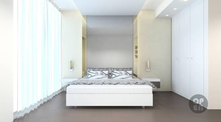 Apartamento T0 - Sesimbra: Quartos  por ATELIER OPEN ® - Arquitetura e Engenharia