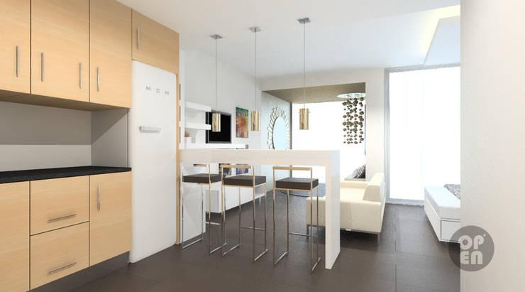 Apartamento T0 – Sesimbra: Cozinhas  por ATELIER OPEN ® - Arquitetura e Engenharia