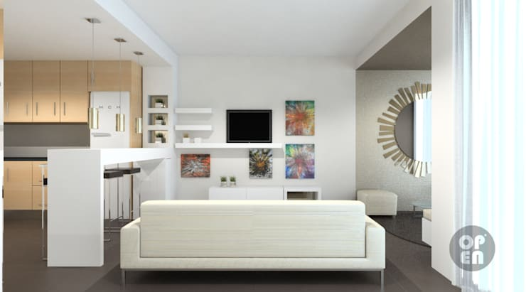 Apartamento T0 – Sesimbra: Salas de estar  por ATELIER OPEN ® - Arquitetura e Engenharia