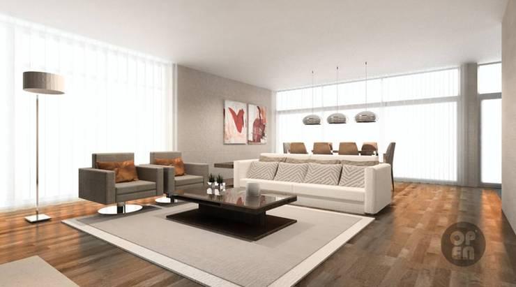 Moradia Unifamiliar - Herdade Aroeira: Salas de estar  por ATELIER OPEN ® - Arquitetura e Engenharia