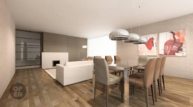 Moradia Unifamiliar – Herdade Aroeira: Salas de jantar  por ATELIER OPEN ® - Arquitetura e Engenharia