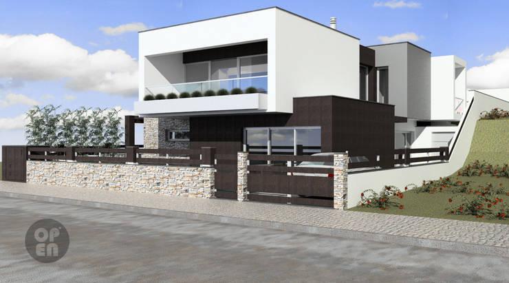 Moradia Unifamiliar - Charneca de Caparica : Casas  por ATELIER OPEN ® - Arquitetura e Engenharia