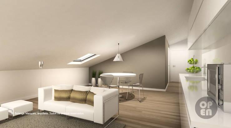 Sótão – Leiria: Salas de estar  por ATELIER OPEN ® - Arquitetura e Engenharia