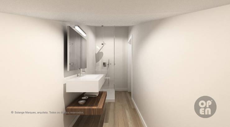 Sótão - Leiria: Casas de banho  por ATELIER OPEN ® - Arquitetura e Engenharia
