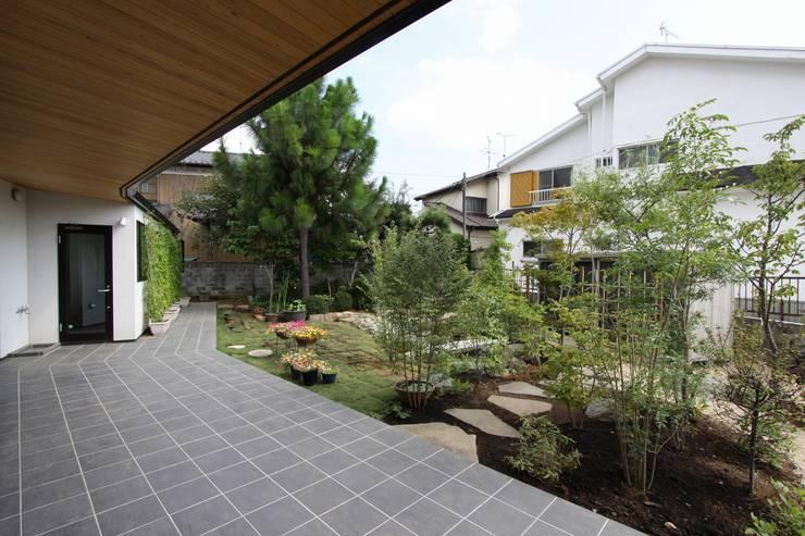 庭と繋がるテラスハウス: アトリエグローカル一級建築士事務所が手掛けたガレージです。,北欧