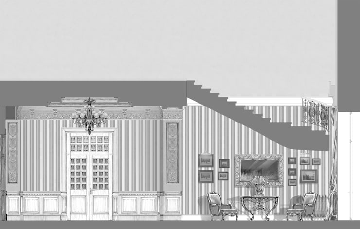 Загородный дом в Серебряном бору.: Коридор и прихожая в . Автор – Архитектурно-дизайнерская компания Сергея Саргина