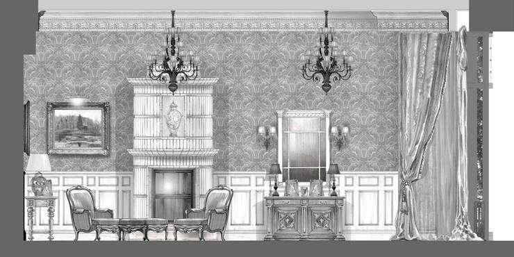 Загородный дом в Серебряном бору.: Гостиная в . Автор – Архитектурно-дизайнерская компания Сергея Саргина