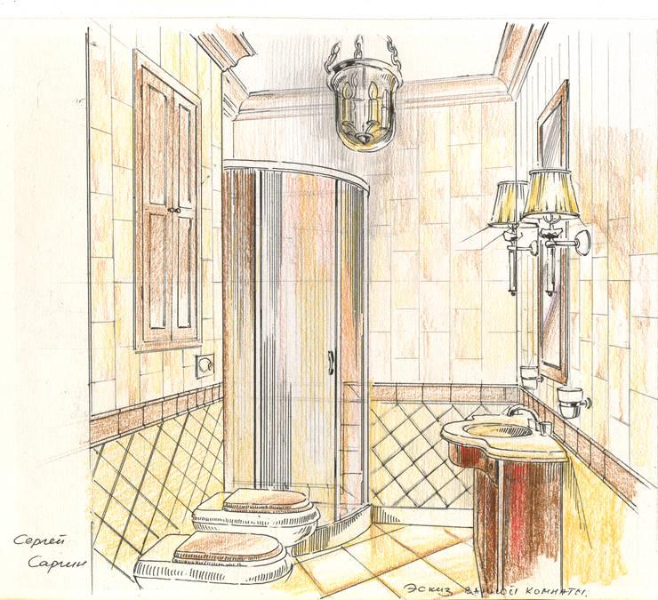 Таунхаус в поселке «Ивакино».: Ванные комнаты в . Автор – Архитектурно-дизайнерская компания Сергея Саргина, Классический