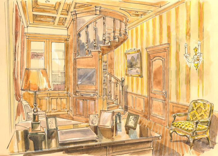 Таунхаус в поселке «Ивакино».: Рабочие кабинеты в . Автор – Архитектурно-дизайнерская компания Сергея Саргина, Классический