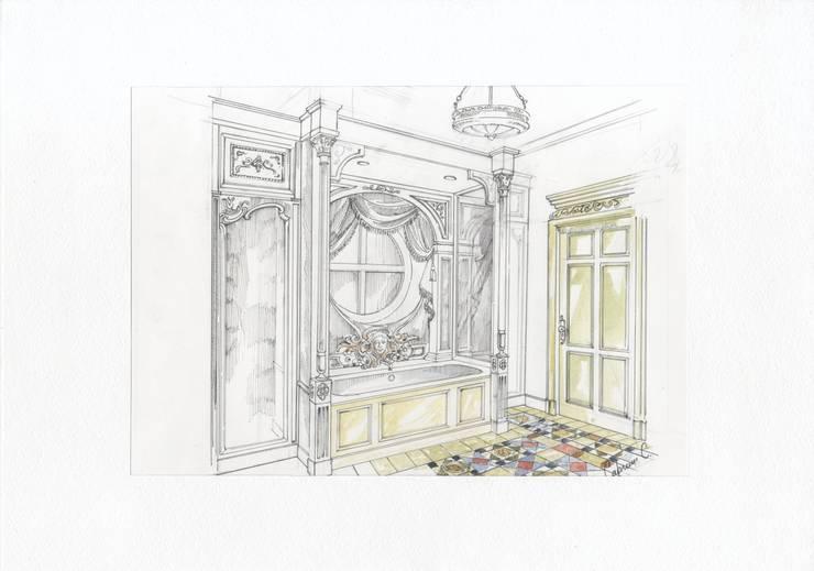 Коттедж в загородном поселке «Пестово».: Ванные комнаты в . Автор – Архитектурно-дизайнерская компания Сергея Саргина