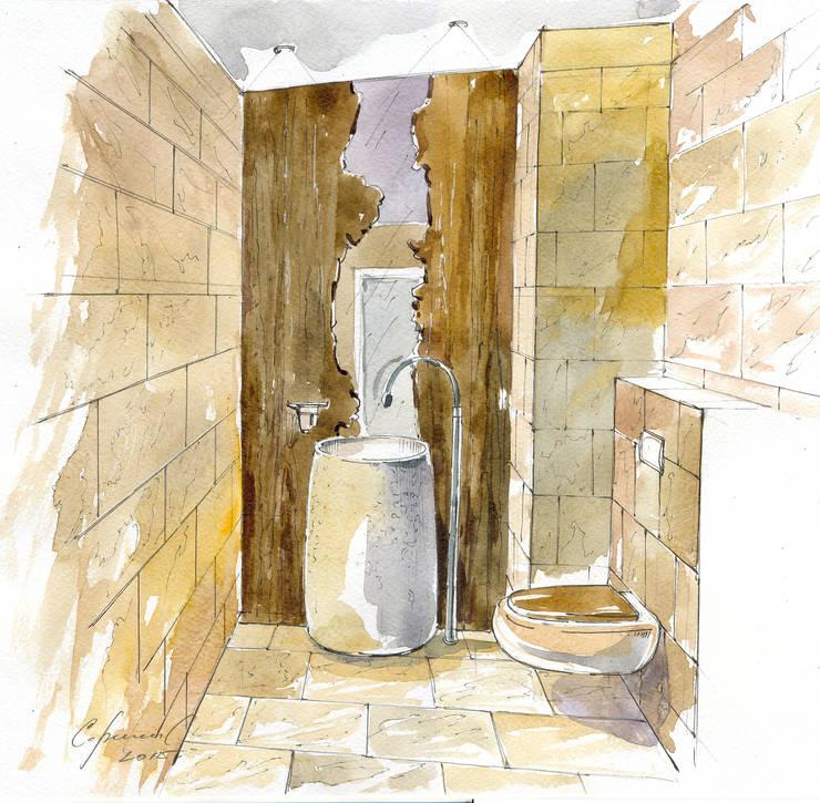 «Коллекционер времени». : Ванные комнаты в . Автор – Архитектурно-дизайнерская компания Сергея Саргина