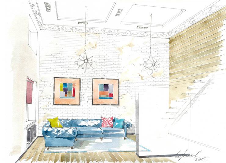 «Коллекционер времени». : Гостиная в . Автор – Архитектурно-дизайнерская компания Сергея Саргина