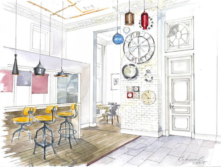 «Коллекционер времени». : Кухни в . Автор – Архитектурно-дизайнерская компания Сергея Саргина