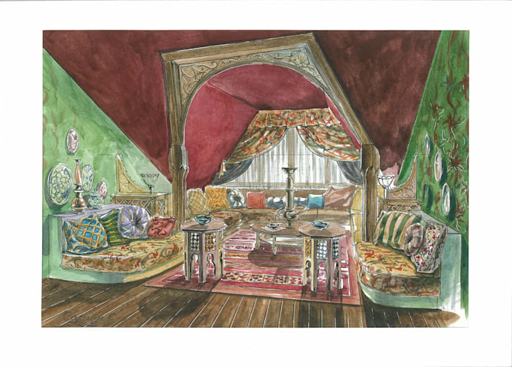 Загородный дом в Английском стиле.: Медиа комнаты в . Автор – Архитектурно-дизайнерская компания Сергея Саргина,