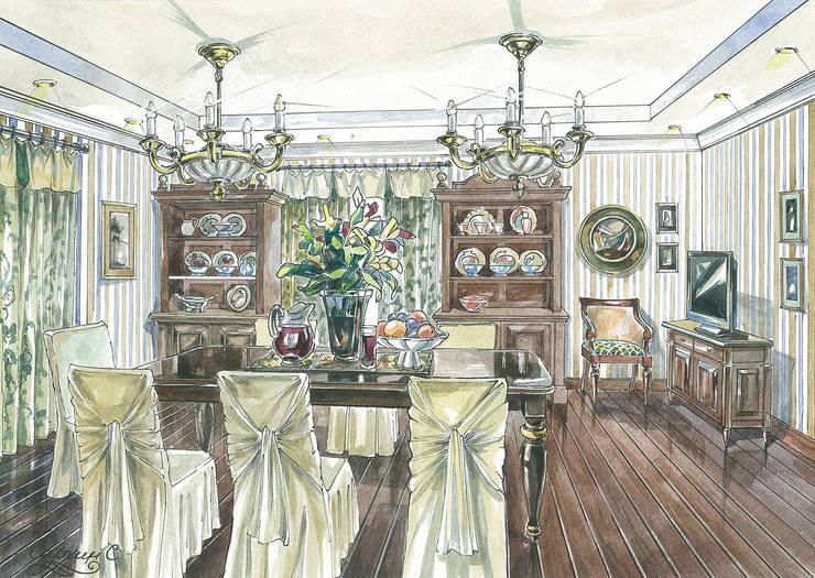 Загородный дом в Английском стиле.: Столовые комнаты в . Автор – Архитектурно-дизайнерская компания Сергея Саргина,