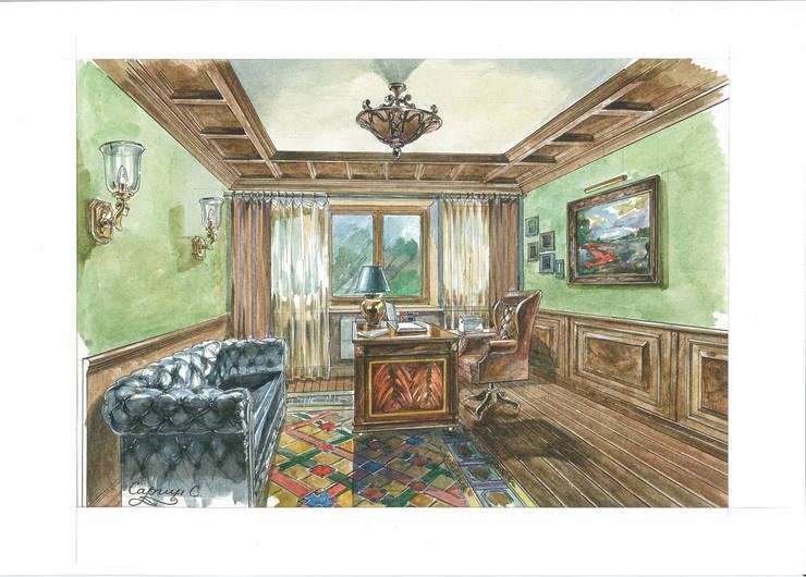 Загородный дом в Английском стиле.: Рабочие кабинеты в . Автор – Архитектурно-дизайнерская компания Сергея Саргина,