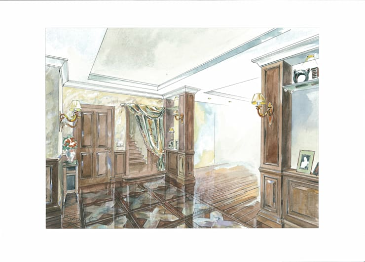 Загородный дом в Английском стиле.: Коридор и прихожая в . Автор – Архитектурно-дизайнерская компания Сергея Саргина,