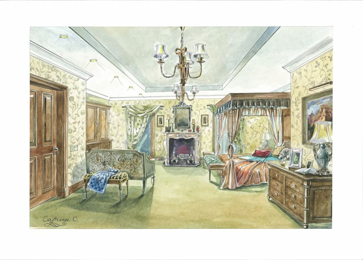 Загородный дом в Английском стиле.: Спальни в . Автор – Архитектурно-дизайнерская компания Сергея Саргина