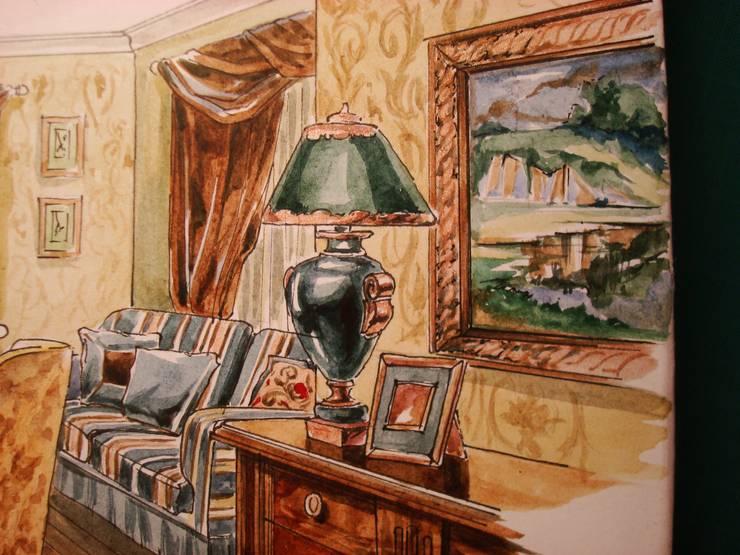Загородный дом в Английском стиле.: Гостиная в . Автор – Архитектурно-дизайнерская компания Сергея Саргина,