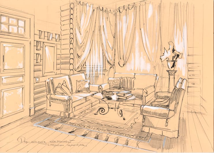 Загородный дом в поселке «Антоновка».: Гостиная в . Автор – Архитектурно-дизайнерская компания Сергея Саргина,