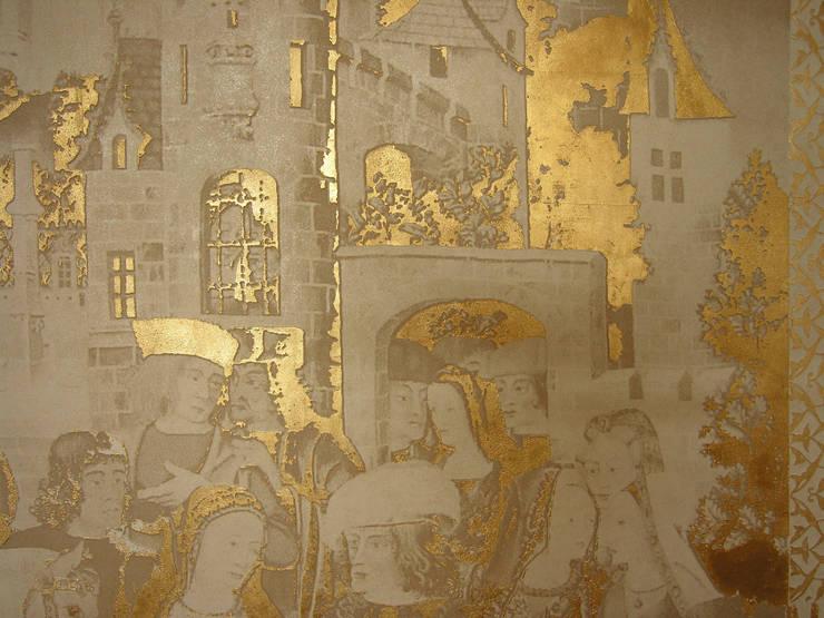 Декоративная роспись-коллаж с рельефными элементами и золочением: Гостиная в . Автор – мастерская22