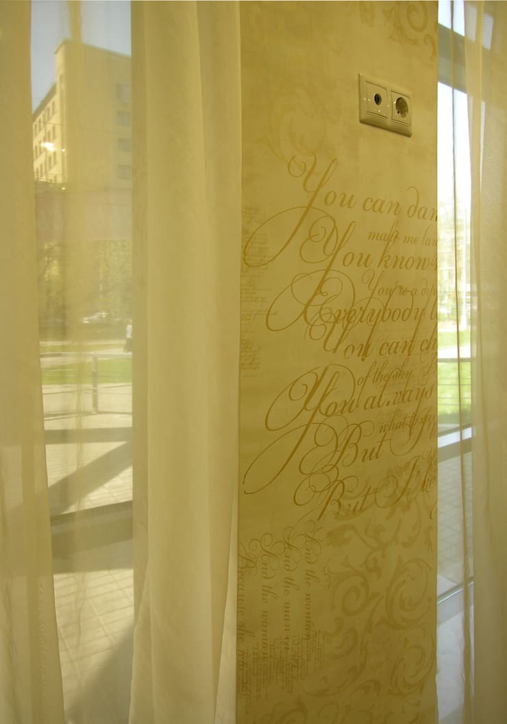 Художественно-декоративное покрытие - коллаж с фрагментами текстов, орнаментов и золочением: Офисные помещения и магазины в . Автор – мастерская22,