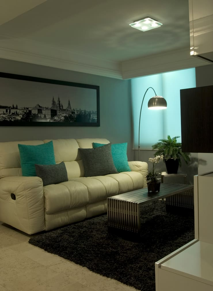 Phòng khách theo VICTORIA PLASENCIA INTERIORISMO, Chiết trung Da Grey