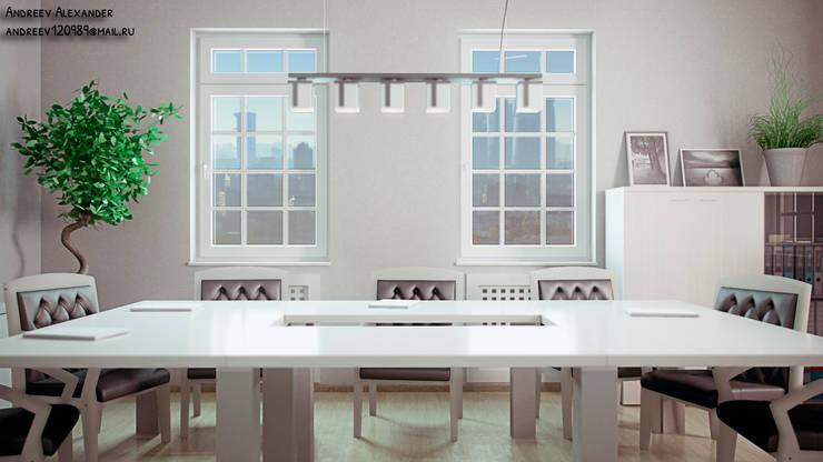 Переговорная в небольшом офисе: Рабочие кабинеты в . Автор – Андреев Александр, Минимализм Изделия из древесины Прозрачный