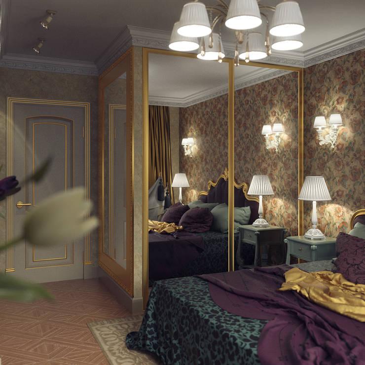 Дизайн квартиры 75 кв.м. в классическом стиле.: Спальни в . Автор – Студия Архитектуры и Дизайна Алисы Бароновой