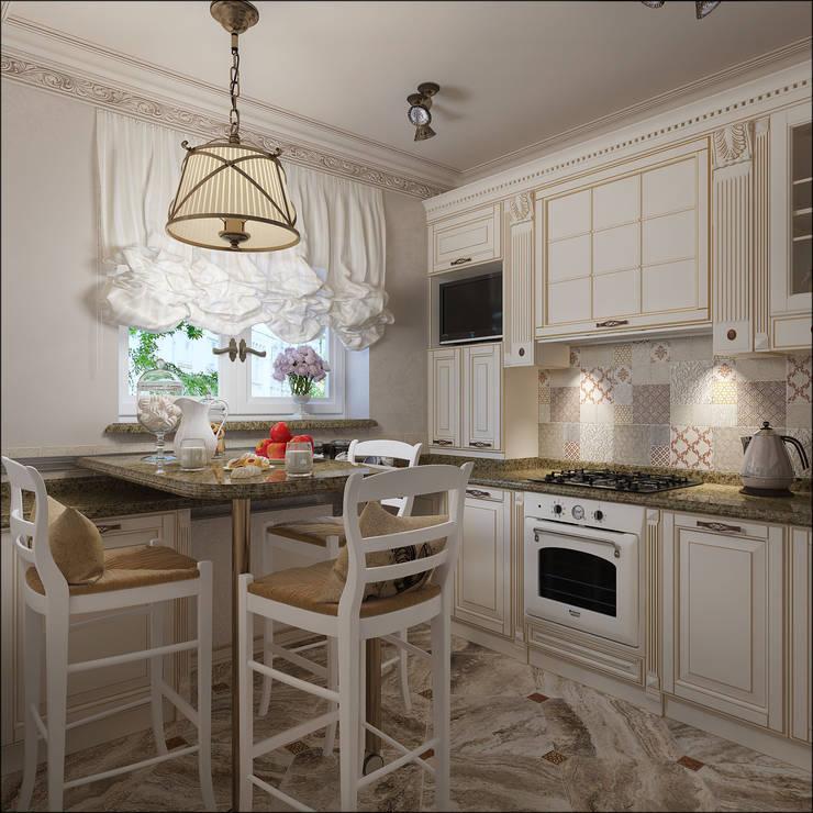 Дизайн квартиры 75 кв.м. в классическом стиле.: Кухни в . Автор – Студия Архитектуры и Дизайна Алисы Бароновой